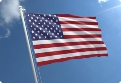West cost of America fulfilment warehouse. American flag.